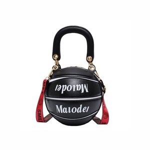 Fun Basketball Shape Female Tote Bag 2020 Fashion Girl Ball Shape Handbag Round PU Shoulder Messenger Bag for Ladie Party Bag