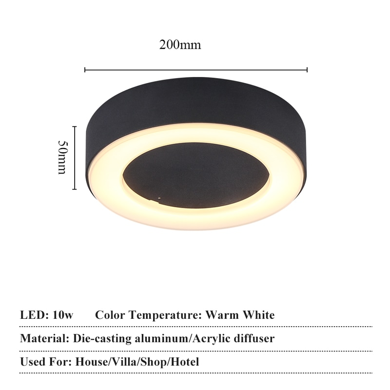 JoollySun 10W Wall Lamp Waterproof Wall Sconces Porch Light Outdoor Balcony Ceiling Lights Aluminum LED Lighting Fixture