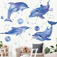home decoration 3d dolphin wall sticker removable cartoon ocean animal wall decal for kids children room