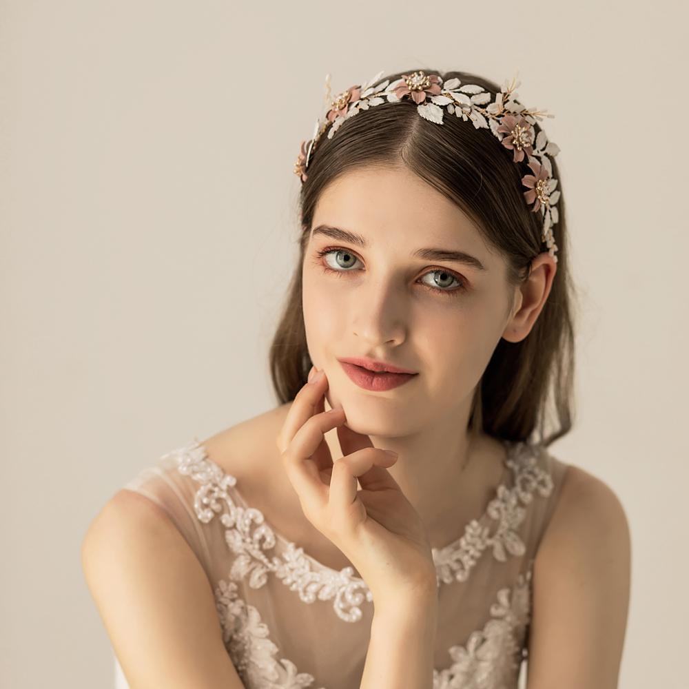 O544 White painted leaves wedding custom pearl beaded cute girls jewel bridal shiny headband hairbands for brides