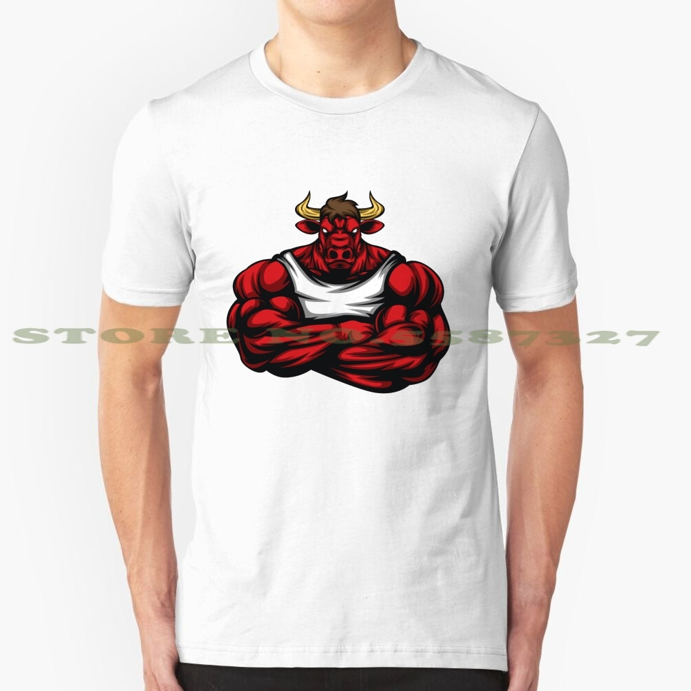 Fuerte como culturismo de Toro, camiseta de gimnasio de levantamiento de pesas regalo fresco diseño camiseta de moda camiseta Red Angry Bull Head