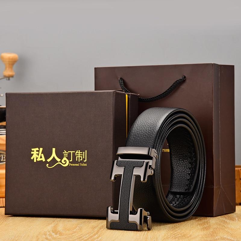 جديد وصول الأسود مصمم الرجال أحزمة جلد طبيعي عالية الجودة التلقائي مشبك حزام الأعمال حزام أحزمة للذكور