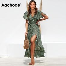 Aachoae Lange Wrap Jurk 2020 Zomer Boho Stijl Bloemenprint Maxi Strand Jurk Sexy Side Split Party Dress Zonnejurk Vestidos