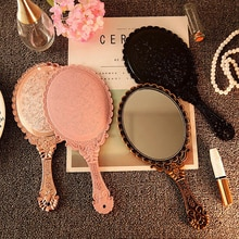 Vintage Carved Handheld Vanity Mirror Makeup Mirror Hand Mirror Handle SPA Salon Makeup Vanity Cosme