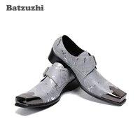 batzuzhi personality genuine leather shoes men square toe metal cap mens leather dress shoes chaussures hommes sizes eu38 46
