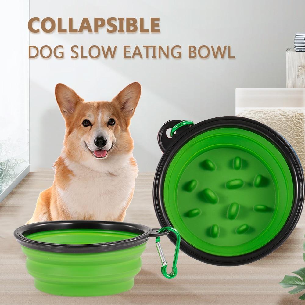 Bol plegable para alimentación de perros, plato alimentador de comida lento para cachorros, cuenco no tóxico para evitar asfixia, cuenco para la salud de la grasa