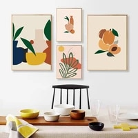 abstract fruit vase leaf geometric pattern canvas painting nordic wall art pictures poster and print living room home decor