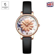 Chrysanthemum Flowers Garden Fashion Ladies Wristwatches Black Leather Rose Gold Case Japan Quartz W