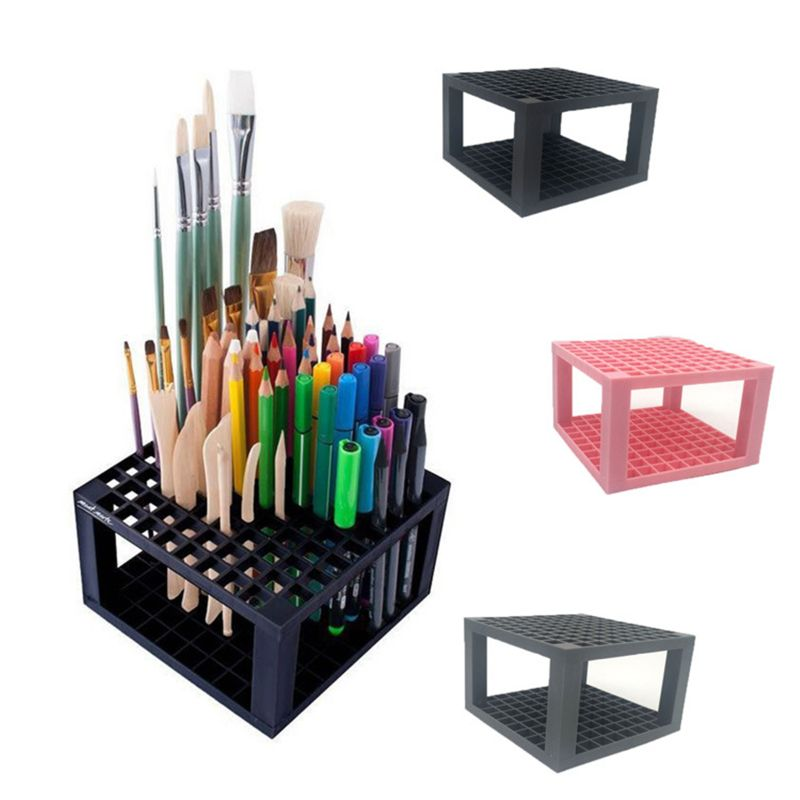 96 Hole Plastic Pencil Brush Holder Desk Stand Organizer Holding Rack for Pens Paint Brushes Colored Pencil
