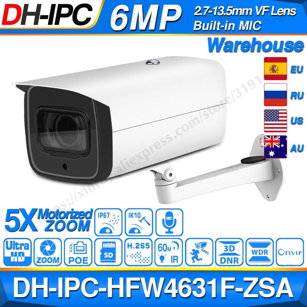 Dahua 6mp poe câmera ip IPC-HFW4631F-ZSA 2.7 ~ 13.5mm 5x zoom vf lente bala 60 m ir micro sd slot para cartão de áudio ip67 ik10