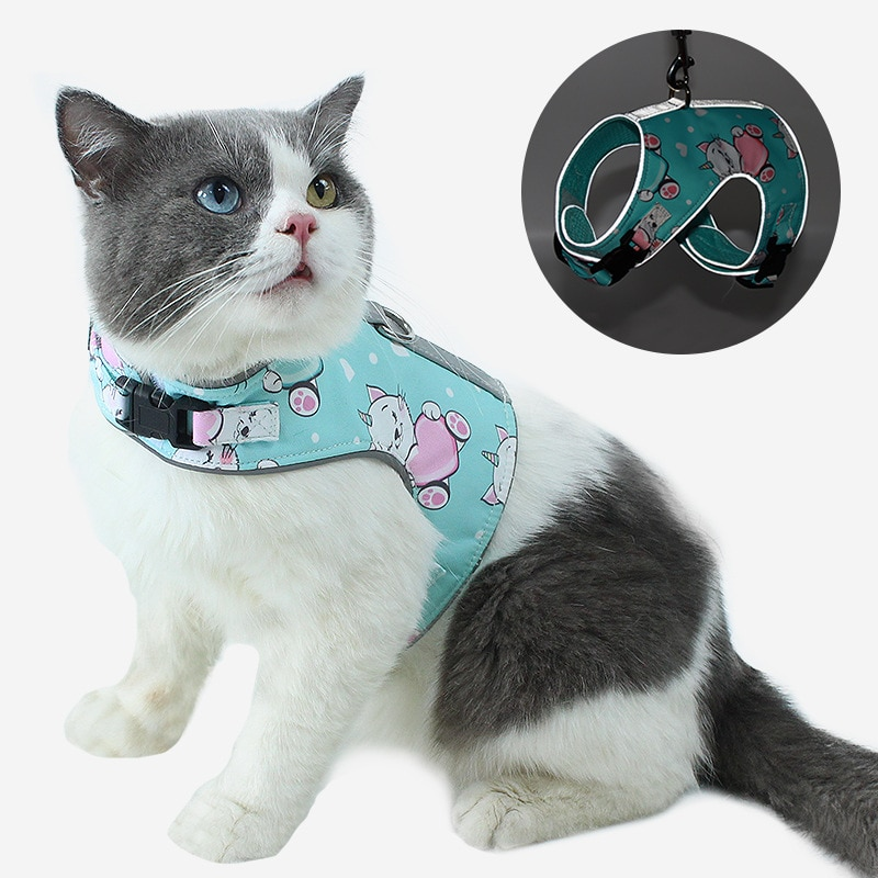 Cat chest strap vest reflective cat chest strap anti loose cat walking rope breathable pet chest strap