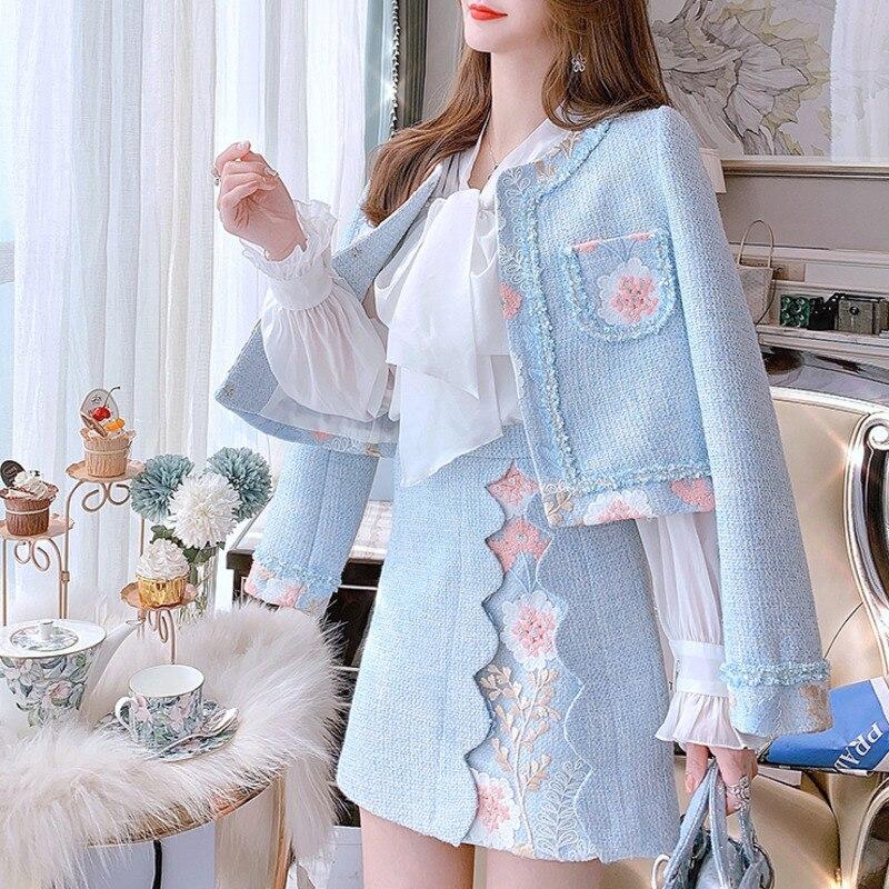 جودة عالية 2021 موضة جديدة الخريف الشتاء النساء دعوى الفاخرة زهرة التطريز Vintage معطف سترة تويد و تنورة صغيرة 2 قطعة مجموعة