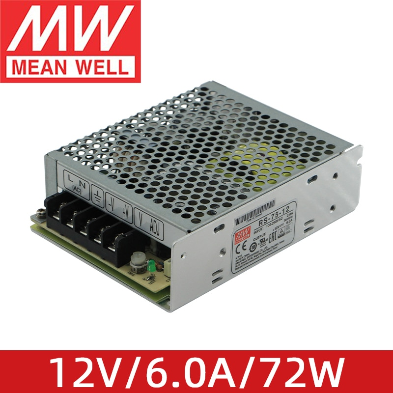 يعني جيدا RS-75-12 12 فولت 6.0A 72 واط جودة عالية ميانويل التيار المتناوب/تيار مستمر 75 واط إخراج واحد تحويل التيار الكهربائي