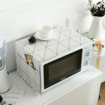 Funda geométrica de lino a prueba de polvo para horno microondas paño borla y bolsillo para horno microondas cubierta accesorios de cocina
