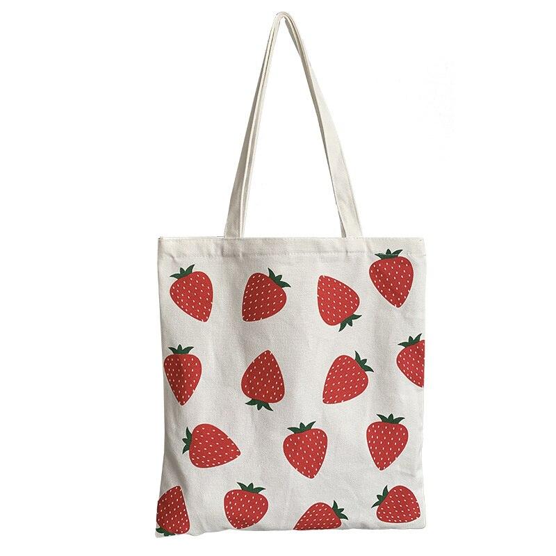 Bolso de lona para mujer de bolsa de compras ecológica de gran capacidad y bolsa de hombro estampada con fresas... plegable