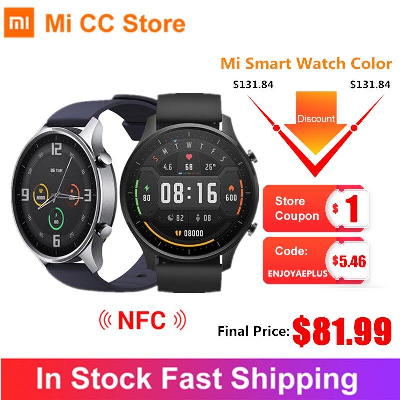 "Original reloj inteligente Xiaomi Color NFC 1,39 ""AMOLED GPS rastreador de Fitness 5ATM impermeable Monitor de ritmo cardíaco de deporte Mi reloj de Color"