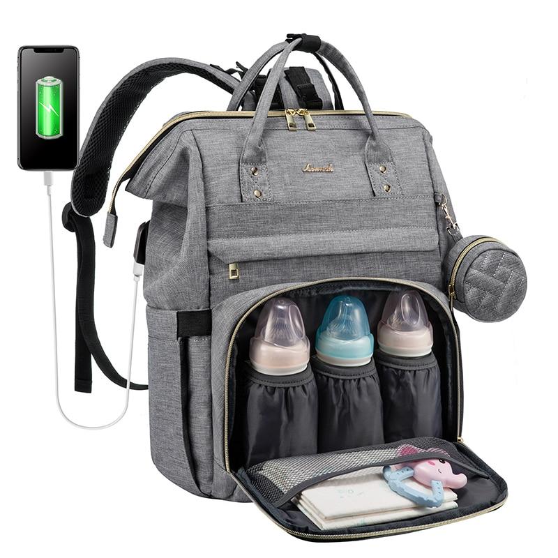 USB Design Mummy bag Diaper Bag Baby Care Large Capacity Mom Backpack Multifunctional backpack Waterproof Baby Pregnant Bag