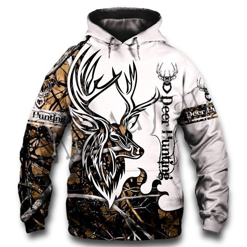 Sudadera con capucha Casual para hombre y mujer, nueva moda colorida con estampado de ciervos en 3D, naranja, caza, cremallera, sudadera, chaqueta y S-49