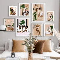 vogue black person girl bathe illustration wall art canvas painting nordic posters and prints wall picture for living room decor