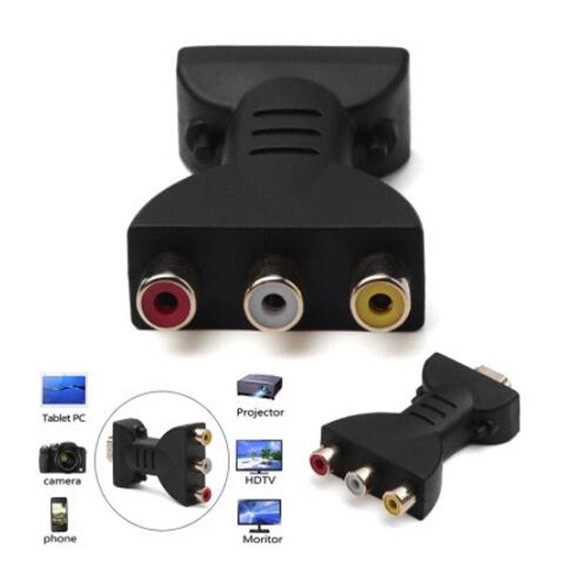 Conector de componentes de señal Digital AV 1080p, adaptador de HDMI a VGA macho a 3 RCA, cable de Audio y vídeo RGB, con diferencia de color