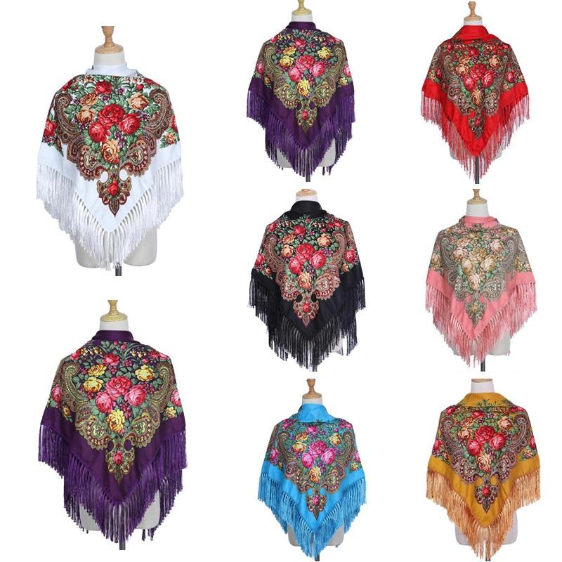 Retro Printed Scarf Winter Shawl Autumn And Winter Warm Cotton Russian Women's Shawl Ethnic Style Tassel Scarf Shawl art ethnic geometry pattern tassel scarf