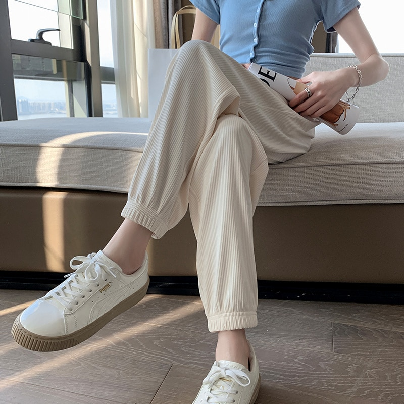 White Ice Silk Sports Pants Female Loose Summer Thin 2021new Ankle-Tied Harem Sweatpants Mosquito-Pr