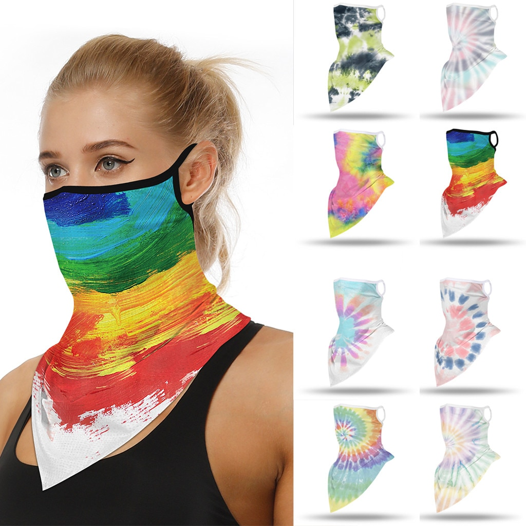Unisex Rave Bandana Neck Gaiter Tube Headwear For Women Men Face Scarf Riding Mask Protective Muslim Hijab Face Handkerchief#p40