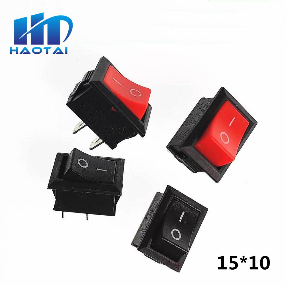 10 unids/lote 15*10mm 2PIN Kcd1 interruptor basculante de barco Snap ON/OFF posición Snap 3A/250V MINI interruptor 10*15mm G130