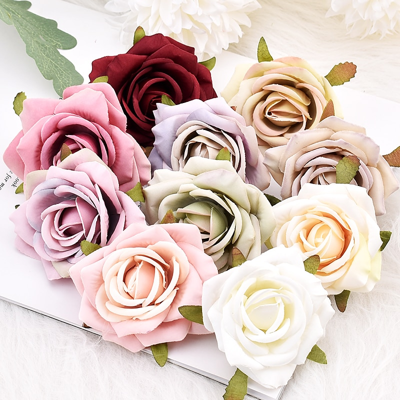 10pcs White Rose Artificial Silk Flower Heads Decorative Scrapbooking  For Home Wedding Birthday Decoration Fake Flowers