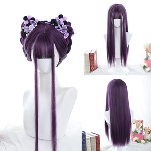 LANLAN Long Straight Purple Wig With Bangs Synthetic Hair Wigs Bang With Wig For Women Lolita Anime Cosplay Heat Resistant Wigs