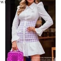 wepbel shirt dress womens plaid ruffles stitching dress autumn long sleeve single breasted pocket turn down collar dress