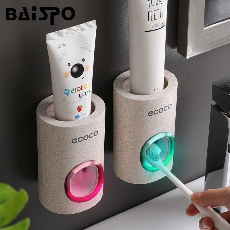 BAISPO dispensador automático de pasta de dientes a prueba de polvo soporte de cepillo de dientes soporte de montaje en pared Set de accesorios de baño exprimidor de pasta de dientes