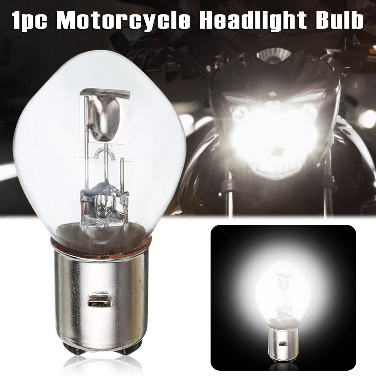 1pc Motorcycle B35 BA20D 12V 10A 35W Headlight Light Bulb For Moto Scooter ATV White Lamp Accessories Parts