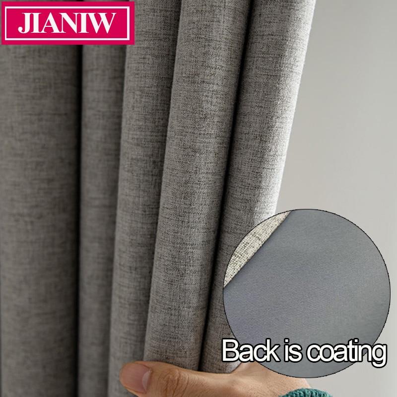 JIANIW Faux Linen Foam Back Blackout cortina térmica aislamiento insonorizado persianas para dormitorio sala de estar hecho a medida
