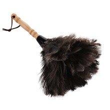 Prático boutique antiestático avestruz pena escova de pele duster ferramenta de limpeza de poeira punho de madeira