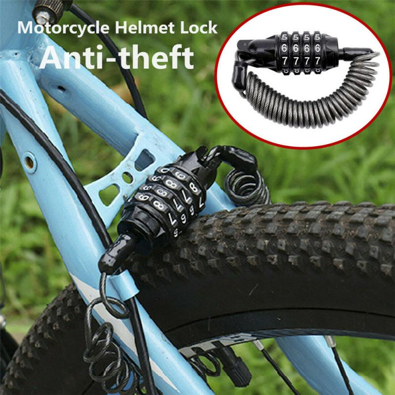 1.8m Elastic Motorcycle Helmet Lock Cable Black Tough Combination 4 Digit Password Anti-theft Security Rope For Bicycle Motorcyc