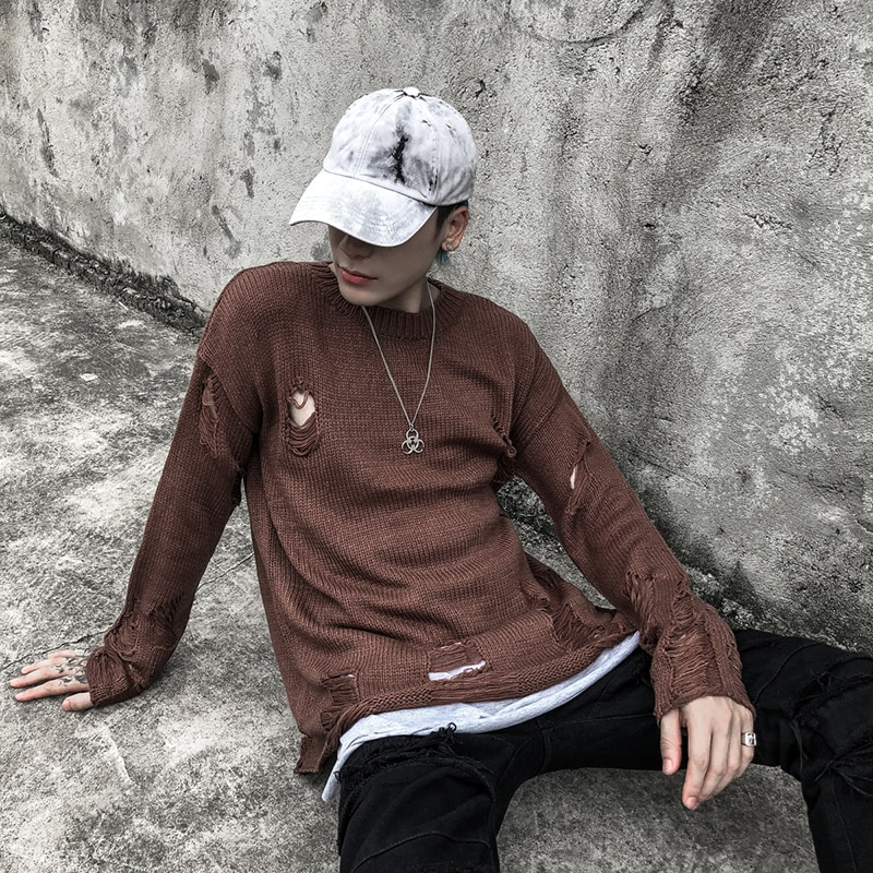 Wash Hole Ripped Knit Sweaters Men Women Streetwear Hip Hop Pullovers Jumper Fashion Oversized All-match Men Winter Clothes