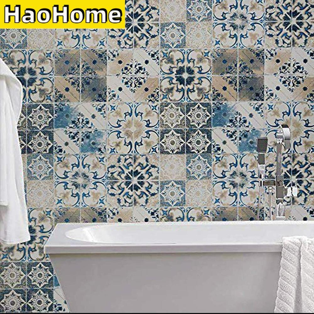 AliExpress - HaoHome Blue Tile Wallpaper Peel and Stick Wallpaper Vintage Contact Paper Waterproof Embossed Self Adhesive Removable Wallpaper