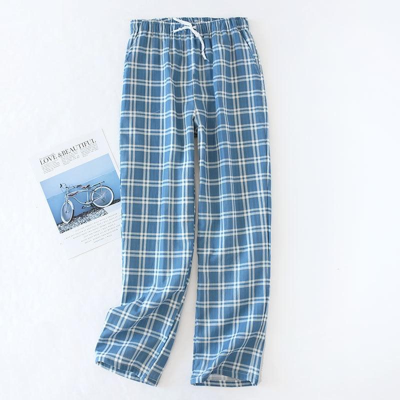 Calas de gaze de algodo masculino xadrez calas de dormir de malha calas de pijamas dos homens calas de pijamas