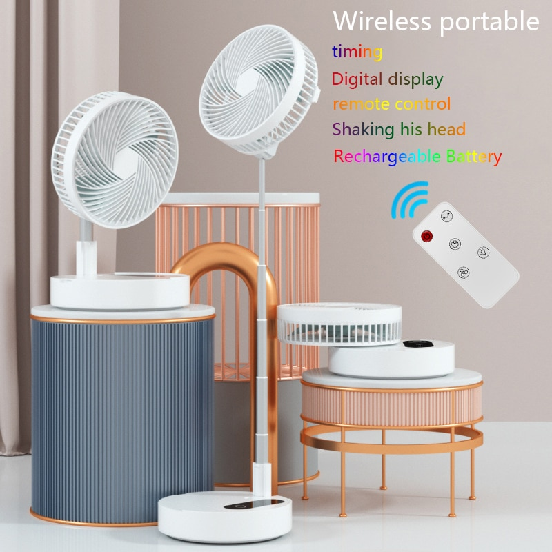 New Wireless USB Hand Folding Fan Remote Control Cooler Portable Air Conditioning Circulator Mi Standing Mobile Rechargeable Fan