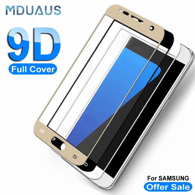 Funda completa de vidrio templado 9D para Samsung Galaxy S7, A7, A5, A3, 2017, J3, J5, J7, 2016, funda protectora de vidrio para pantalla