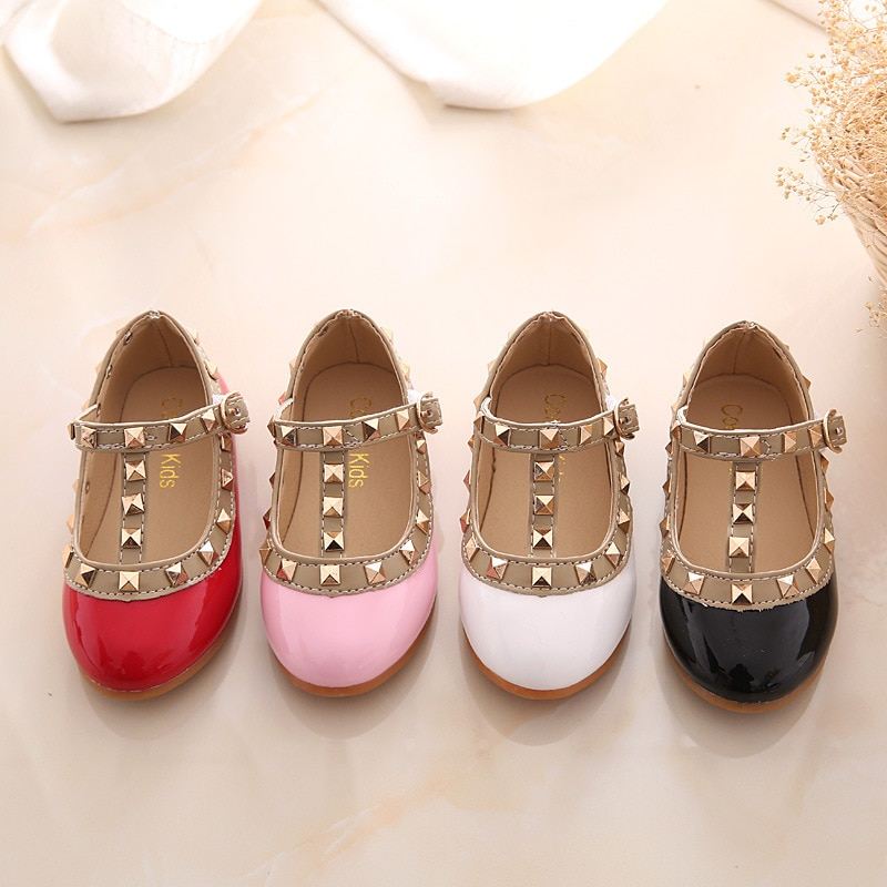 2020 New Girls Sandals Rivets Single Shoes Kids Leather Shoes children nude sandal toddler Girls Pri