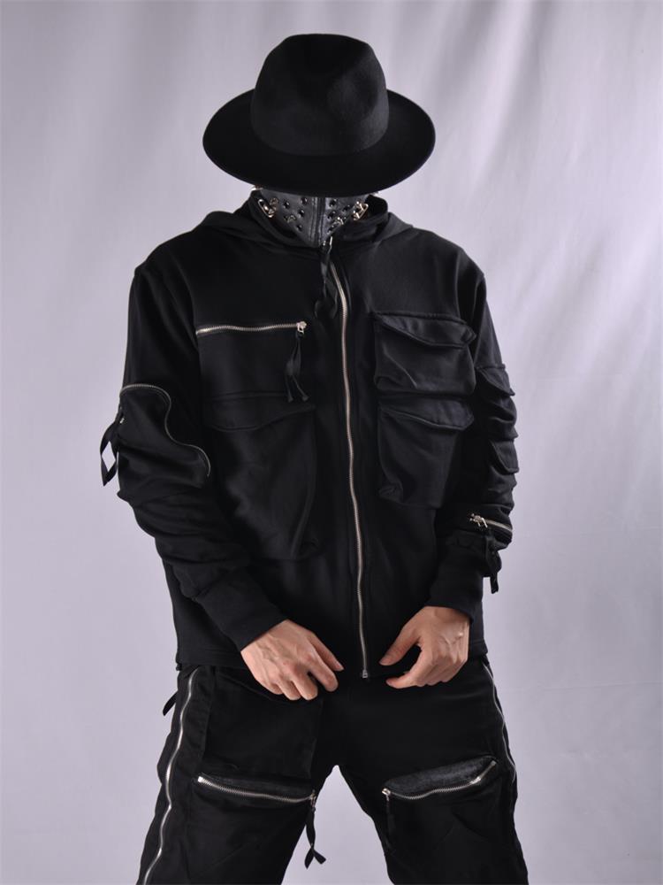 الرجال طويلة الأكمام معطف مقنع الخريف/الشتاء جديد الظلام متعددة جيب شخصية تصميم الظلام النينجا فضفاض سستة التكتيكية معطف