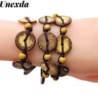unexda fashion charm bracelet multilayer wooden bangle bracelets for women bib beaded bohemian one way bangles party jewelry