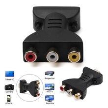 Sinal digital av 1080p hdmi para vga adaptador macho para 3 rca cabo de áudio vídeo rgb cor diferença componente conector
