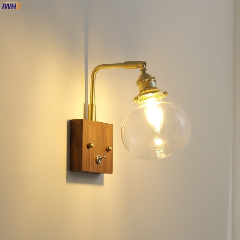 IWHD زجاج حديث الكرة الجدار مصباح بجانب سحب سلسلة التبديل غرفة نوم Bthroom مرآة ضوء النحاس الشمال الجدار الشمعدان بمصباح LED