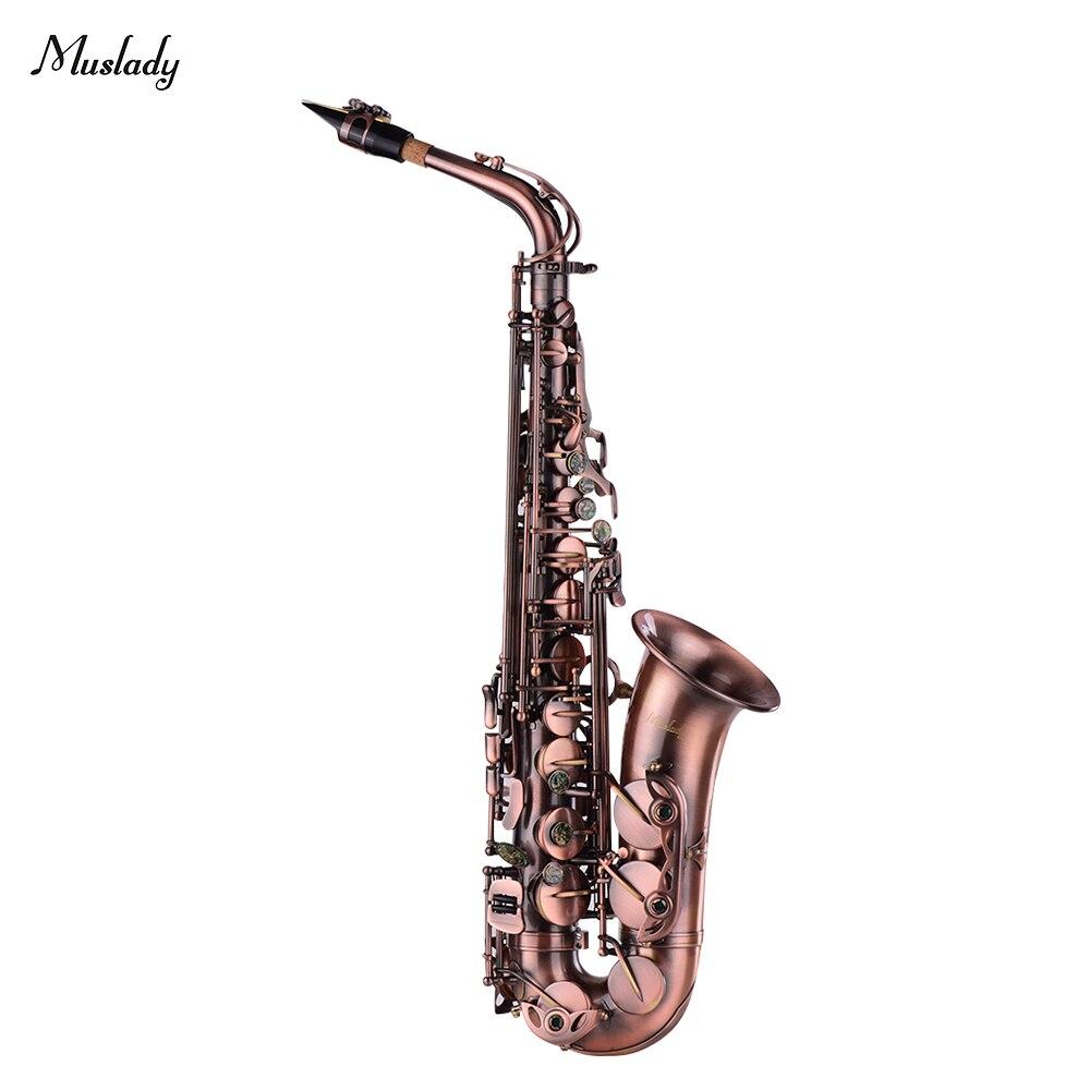 Muslady de Alto grado rojo bronce doblado Eb saxofón Alto E-plano saxo tallado patrón instrumento de viento de madera con estuche de transporte
