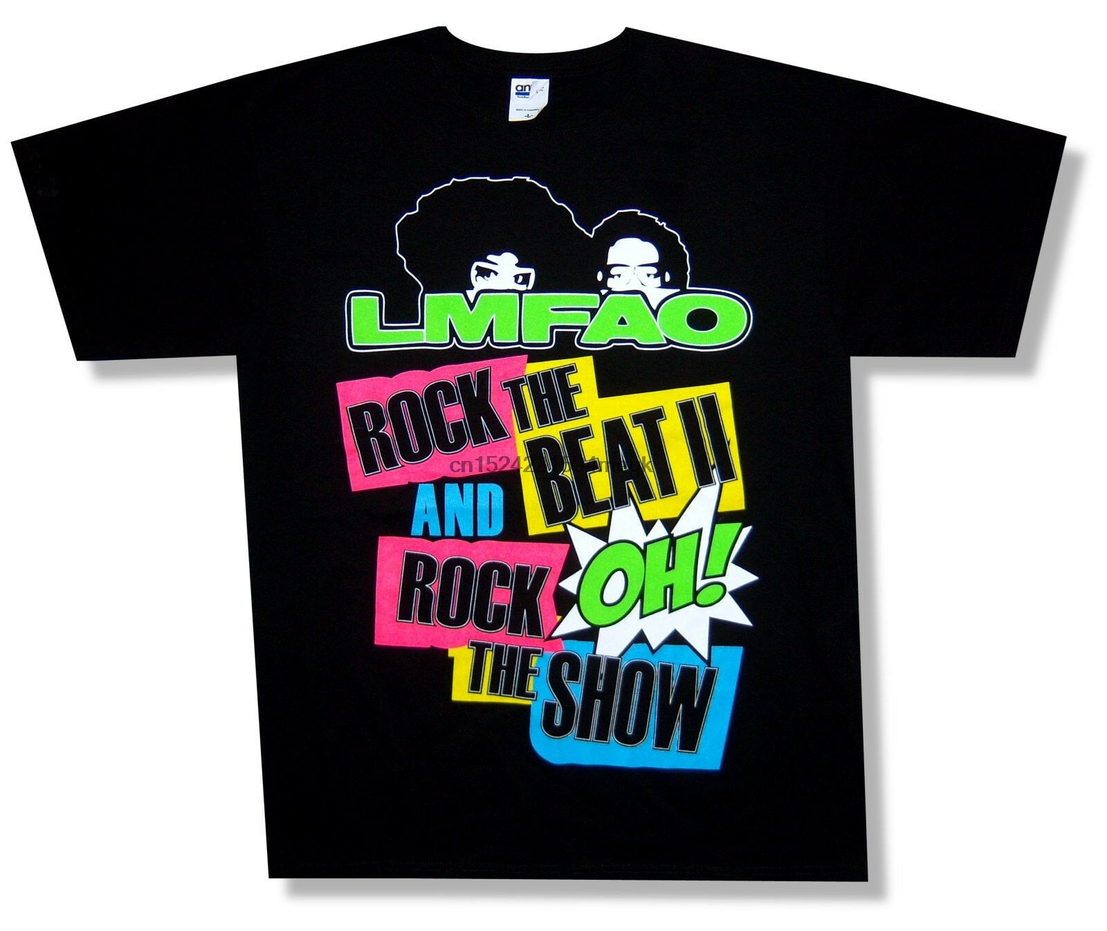Camiseta negra LMFAO ROCK THE BEAT ROCK THE SHOW para adulto nuevo oficial (1)