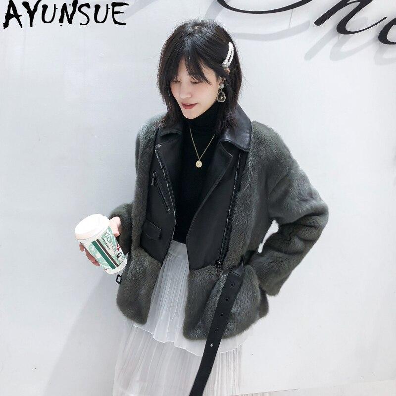 Ayunsu ريال فرو منك معطف الإناث سترة الشتاء سترة النساء الفاخرة الفراء الطبيعي معاطف الكورية الدافئة ملابس خارجية Casaco Feminino بلدي
