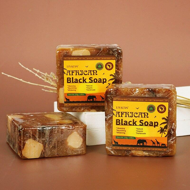 110g African Black Soap Cleansing Nutrishing Whitening Natural Organic Handmade Black Soap 1PCS